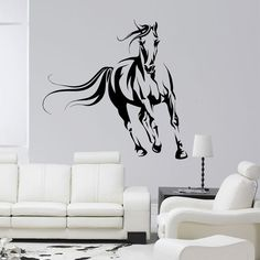 Wild horse wall decal, Animals wall decal, Horse running wall decal, Wall art, Sticker art, Wall decal for any room, Home decor, 086