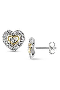 Diamond Earrings in White & Yellow Gold.