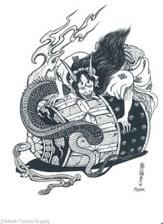 "100 Japanese Tattoo Designs by Hormouja Produced by the talented Michigan tattoo artist ""Horimouja"". This particular book, 100 Dragon Designs is the ultimate resource for Japanese style Dragons. Horimouja has brought a fresh, unique perspective to the cl Japanese Drawings, Japanese Tattoo Designs, Japanese Prints, Japanese Tattoos, Hannya Tattoo, Irezumi Tattoos, Samurai, Beast Creature, Japanese Folklore"