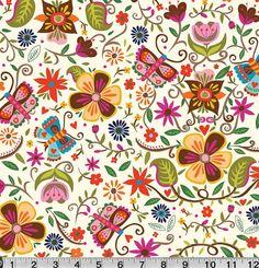 Main Floral Illustration on White from Soul by sewfreshfabrics, $4.90