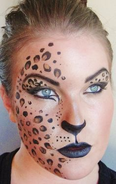 Leopard half mask Halloween cool creepy mysterious pretty face paint costume girl makeup crazy