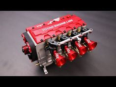 TOYAN FS-L400 14cc Inline 4 Cylinder Four-stroke Water-cooled Nitro Engine Model for 1:8 1:10 1:12 1:14 Model Car Ship Airplane (Kit Version) - Enginediy TOYAN ENGINE L400 - Enginediy High Simulation:The red sport element design and the highly simulated appearance are much closer to the real engine. Long Stroke: Take t Nitro Engine, Gasoline Engine, Hobbies To Try, Engineering, Sandbox, Model Car, Closer, Technology, Design