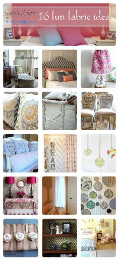 16 Fun Fabric Ideas for Your Home! Scrap Fabric, Fabric Decor, Fabric Scraps, Diy Ideas, Decor Ideas, Craft Ideas, Diy Projects To Try, Sewing Projects, Sew Simple