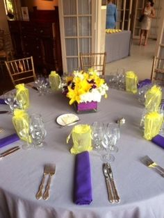 Lovely yellow and purple design for a summertime wedding at the Mansion!