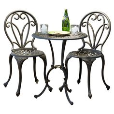 Additional limited-time savings reflected in current price Cast aluminum bistro set in dark gold finish Includes round bistro table and 2 bistro chairs Outdoor Dining Set, Patio Dining, Outdoor Tables, Indoor Outdoor, Outdoor Living, Outdoor Ideas, Dining Sets, Patio Table, Outdoor Decor