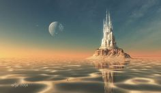 This HD wallpaper is about white castle graphic wallpaper, fantasy art, artwork, futuristic, Original wallpaper dimensions is file size is Fantasy City, World Of Fantasy, Fantasy Castle, Fantasy Places, Alien Worlds, Worlds Of Fun, Fantasy Landscape, Urban Landscape, Graphic Wallpaper