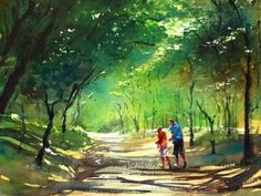 watercolor by Japanese artist Kazuo Kasai Watercolor Projects, Watercolor Landscape Paintings, Watercolor Trees, Watercolor Artwork, Watercolor Artists, Gouache Painting, Watercolor Techniques, Landscape Art, Japanese Watercolor