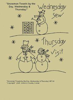 """Stitchery Primitiva E-patrón """"Muñeco de nieve Toallas por el día, Miércoles y Jueves!"""""""
