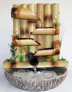 DIY Tabletop Fountain id ias Bamboo Water Fountain, Tabletop Water Fountain, Indoor Water Fountains, Indoor Fountain, Garden Fountains, Bamboo Planter, Bamboo Lamp, Design Fonte, Fountain Design