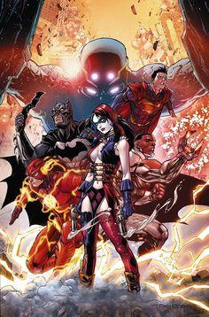 CONVERGENCE #1 by Tony S. Daniel Superman Batman Harley Quinn Flash Cyborg