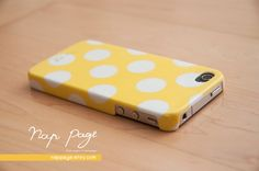 Apple iphone case for iphone iphone 3Gs iphone 4 iphone 4s iPhone 5 : Yellow polka dot. $19.90, via Etsy.