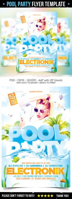 Spring Party Flyer Bundle Flyers, Spring and Flyer template - pool party flyer template