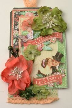 """If you need a special BIRTHDAY TAG ... then come to @Petaloo for the flowers and @Graphic45 for the """"Time to Celebrate"""" paper!  More ideas on the Petaloo Blog."""