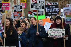 Marchers have accused US President Donald Trump of scapegoating Muslims after he announced a 90 day travel ban on seven countries with a predominantly Muslim population
