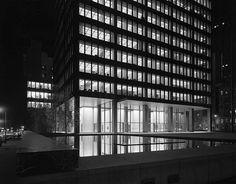 "tgphipps: ""Ludwig Mies van der Rohe (German-American, 1886-1969) with Philip Cortelyou Johnson (American, 1906-2005) and Phyllis Barbara Lambert (née Bronfman) (Canadian, b. 1927)   The Seagram..."