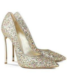 Scarpe con tacco alto con lustrini argento 60.75