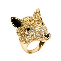 SPECIAL OFFER Close to cost price $55 This chunky rhinestone-encrusted ring is one stunning accessory! It's got gold,white, and amber colored crystals plus enamel plating for a luxe look. So much for the big bad wolf- this one's cute as can be. By Australian brand #NoneThe Richer! Sold in America by #Fred Flare Medium Size http://www.designershowcase.com.au/diamante-wolf-ring/
