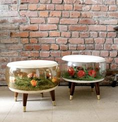 WHAT?! Inflatable stools with plastic flower dioramas. Of course this exists - it's genius. Why haven't I heard of these oddities / wonders before now?