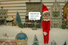 Elf on the Shelf visits the Christmas village....