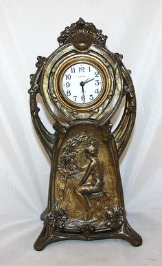 Bronze art nouveau clock, the one I have, has way better patina - sweet! Mantel Clocks, Old Clocks, Antique Clocks, Jugendstil Design, Art Nouveau Furniture, Classic Clocks, Unusual Clocks, Clock Shop, Clock Display