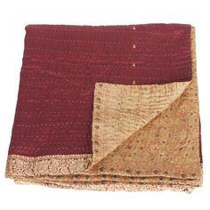 » silk sari kantha blanket big | rani