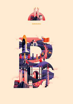 B is for #Barcelona in the Wanderlust Alphabet by Jack Daly  #illustration #art