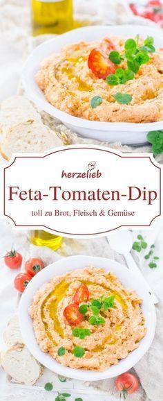 Dip Rezepte : Leckerer Feta-Tomaten-Dip, der zu Brot, Fleisch und Gemüse passt. Das Rezept ist von herzelieb. #dip #grillen #deutsch #foodblog