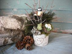 Birch bark wall pocket  or vase filled with by NHWoodscreations,