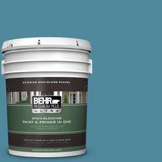 BEHR Premium Plus Ultra 5-gal. #S460-5 Blue Square Semi-Gloss Enamel Exterior Paint