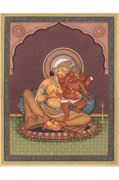 Parvati with Ganesha in Her Lap, Hindu Water Color Painting on PaperArtist: Kailash Raj Om Namah Shivaya, Om Gam Ganapataye Namaha, Shri Ganesh, Lord Ganesha, Durga, Hanuman, Lord Shiva, Ganesha Painting, Tanjore Painting