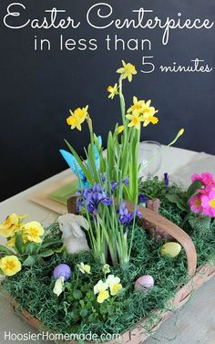Create a gorgeous Easter Tablescape complete with Centerpiece and Bunny Napkins in minutes :: Instructions on HoosierHomemade.com