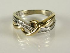 two tone gold and diamond ring | 14k 2 Tone Gold .25ctw Natural Round Cut Diamond Channel Bypass Ring 3 ...