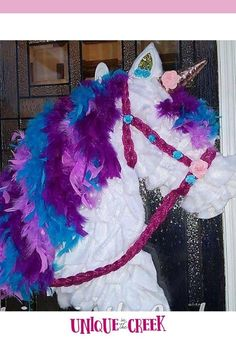 Do we have any unicorn lovers?? What about horses? GRAB a Unique in the Creek Horse board and create some magic all your own! #diy #diywreath #unicorn Tulle Wreath, Diy Wreath, Mesh Wreaths, Wreath Making, Small Wreath, Flower Wreaths, Wreath Crafts, Wreath Ideas, Burlap Wreath