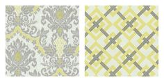yellow/gray fabrics...I am loving this combination right now for my Living room and a slightly moodier, metallic interpretation for my dining room....