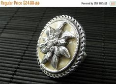 BACK to SCHOOL SALE Upcycled Brooch Ring. Flower Bouquet Ring in Tan and Silver. Adjustable Ring. Cocktail Ring. Handmade Jewelry. by StumblingOnSainthood from Stumbling On Sainthood. Find it now at http://ift.tt/2c0nDXA!