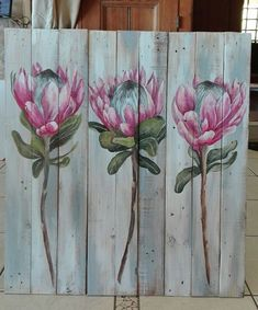 57 Trendy Flowers Painting On Wood Pallets Pallet Painting, Pallet Art, Painting On Wood, Painting & Drawing, Painting Flowers, Protea Art, Protea Flower, Arte Popular, Pottery Painting