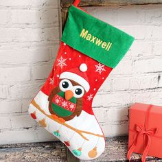 Your little ones with love our personalised stockings! Available now from our Christmas shop: https://nspcc.ijustloveit.co.uk/product/personalised-owl-stocking/