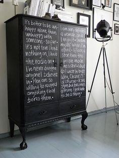 Blackboard paint again - it helps if you have nice handwriting