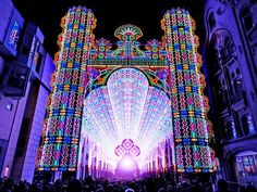 2012~Talk about seeing the light! Made up of over 55,000 colored LED lights, the Luminarie Cagna is a massive cathedral that will be on display at the second annual Festival of Lights in Ghent, Belgium. More than 200,000 visitors are expected to visit the town from January 26th to the 29th as the city is illuminated by dazzling light shows and other LED spectacles.