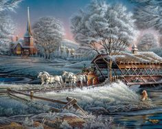 Morning Frost Puzzle from White Mountain Puzzles. Artist: Terry Redlin Item: 836 1000 piece jigsaw puzzle: Finished size x Winter Pictures, Christmas Pictures, Christmas Scenes, Christmas Art, White Christmas, Terry Redlin, Winter Szenen, Thomas Kinkade, Snow Scenes