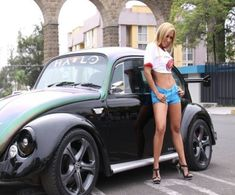 Vw Beetle, Sexy girl with an old vw beetle. ♠ VW beetle beetle # heels # old school ♠. X Bros Apparel Vintage Motor T-shirts, VW Beetle & Bus T-shirts, Great price Custom Classic Cars, Classic Trucks, Vw Bugs, Volkswagen, Sexy Cars, Hot Cars, Women With Beautiful Legs, Bus Girl, Girly Car