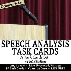 <PEM>  Speech Analysis Task Cards, Comprehension, Prompts, Any Speech Great Questions for Analysis | Middle School or High School
