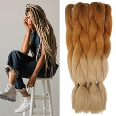 Ombre Braiding Hair Kanekalon Lots High Temperature Silver Fiber Brown Expression Synthetic Braiding Hair Extension - May 05 2019 at Brown Ombre Hair, Ombre Hair Color, Blonde Ombre, Ombre Style, Afro Hair Style, Curly Hair Styles, Natural Hair Styles, Braiding Hair Colors, Easy Updo Hairstyles
