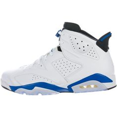 new concept 9751b 14a8c Men s white leather Nike Air Jordan 6 Retro round-toe sneakers with  embroidered Jumpman at counters, rubber soles and lace-tie closures at  uppers.