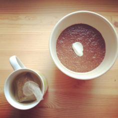 Breakfast! This is a chocolate chia seed pudding with low fat creme fraiche.. and it was amazing!  Recipe:  -3/4 cup of chocolate almond milk -1/4 cup coconut milk -4 tbsp chia seed -1 tsp cocoa or cacao powder -Sweetener of choice to taste (I used 2tbp maple syrup... but I have an extreme sweet tooth!)