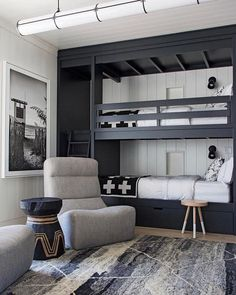 The Mountain Fixer: Kids Bunk Room Update - bunk room design and overall floor plan for mountain house - Bunk Bed Rooms, Bunk Beds Boys, Bunk Beds Built In, Modern Bunk Beds, Kid Beds, Boys Bunk Bed Room Ideas, Black Bunk Beds, Adult Bunk Beds, Built In Beds For Kids