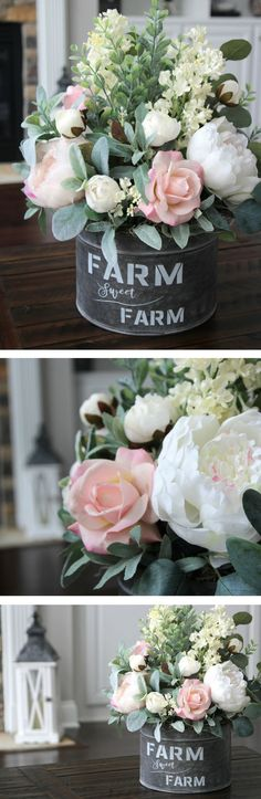 Beautiful quality farmhouse floral arrangements!!! {SimplyStems} on Etsy does INCREDIBLE work! #farmhouseflorals #farmhousedecor #diyflowers #flowerarrangement #flowerdisplay #rusticdecor #afflink