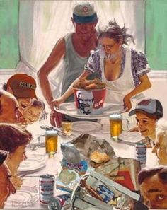 Looking at portraits of Norman Rockwell that were published in the Saturday Evening Post. Do you think if he were alive today be politically correct? The American of the day of Norman Rockwell and the USA as it is today. Even if this great artist. Funny Thanksgiving Pictures, Thanksgiving Art, Thanksgiving Cocktails, Norman Rockwell Art, Norman Rockwell Paintings, Norman Rockwell Thanksgiving, Redneck Christmas, Retro Christmas, Funny Christmas