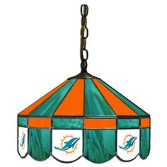 Miami Dolphins NFL 16 Inch Billiards Stained Glass Lamp 1