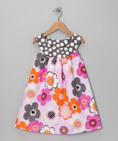 Take a look at this Pink & Gray Flower Yoke Dress - Toddler & Girls  by SILLY MILLY on #zulily today!